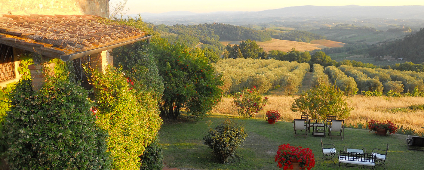 Traditional Tuscan villa set high on a hill in the Chianti overlooking the most stunning scenery